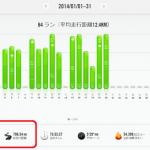 1/20の練習(2)減量jog ; 今月の走行距離、現在796.54km!