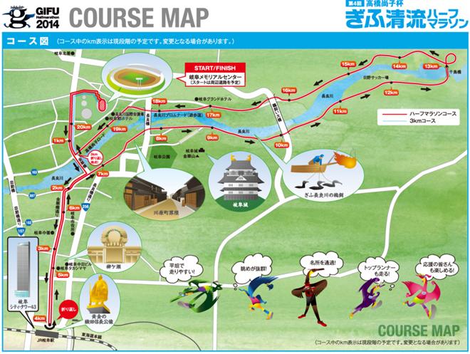 コースマップ | 高橋尚子杯ぎふ清流ハーフマラソン