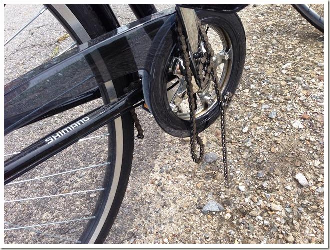 自転車のチェーンが切れた