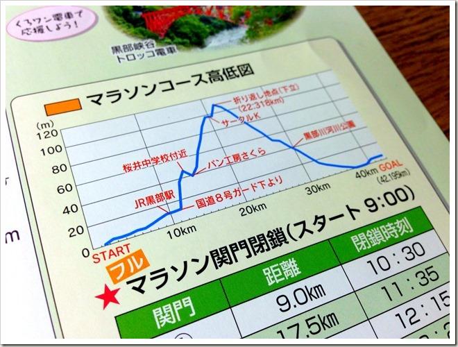 黒部名水マラソン・マラソンコース高低図