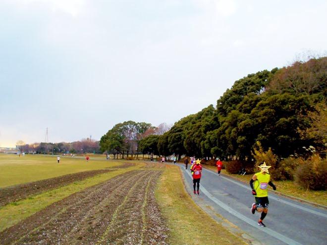 年忘れマラソン in 庄内緑地公園 ランナー疾走中