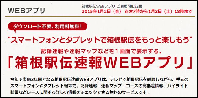 第91回箱根駅伝 WEBアプリの照会画面