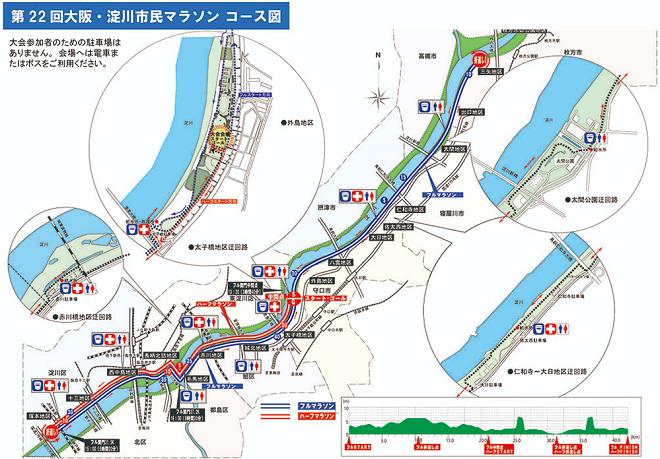 大阪・淀川市民マラソン2019コースマップ